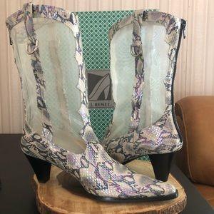 Women's J. Renee Boots with Rainbow Snake Mesh.